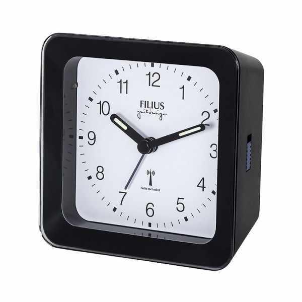 FILIUS Zeitdesign, Funkwecker Silent mit Licht, schwarz/weiss_8028