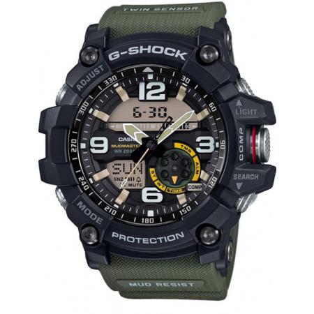 G-SHOCK Mudman Quartzuhr Kompass-Thermo schwarz/oliv