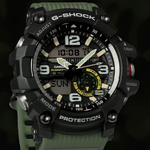 G-SHOCK Mudman Quartzuhr Kompass-Thermo schwarz/oliv_8240