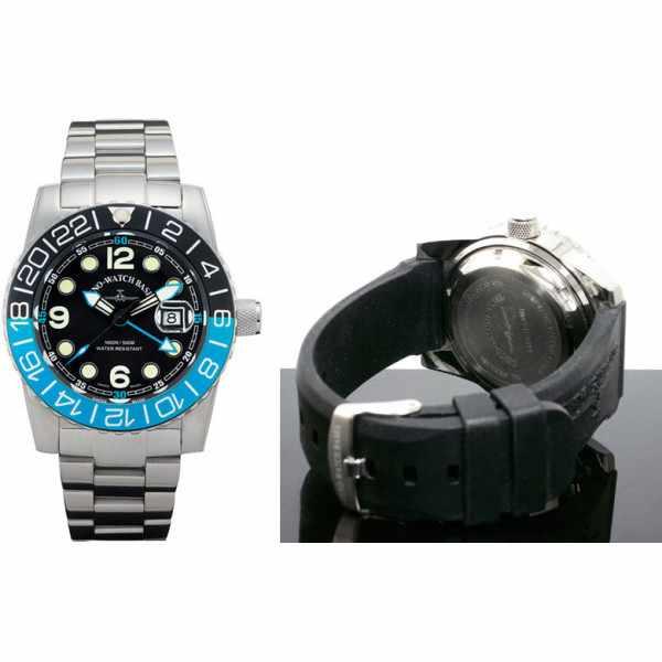 ZENO-WATCH BASEL, Airplane Diver, XL Taucheruhr GMT Quartz, blau MB_840