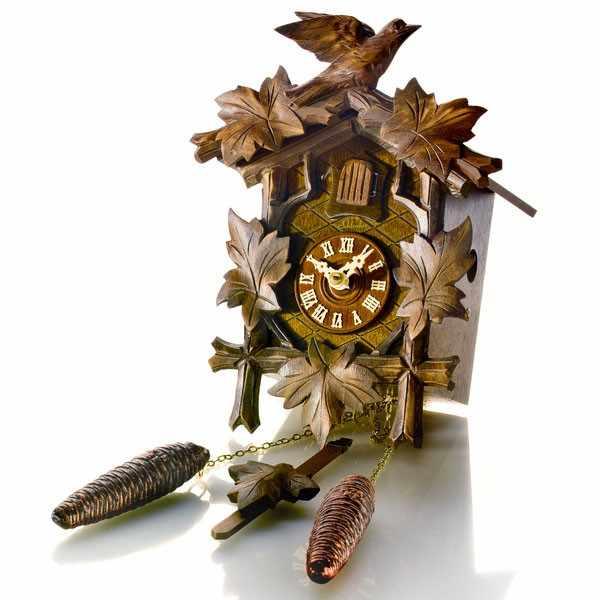 Kuckucksuhr, Klassik Black Forest, Holz Wanduhr mechanisch 23cm_8402