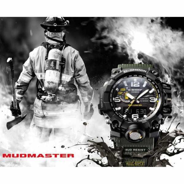 G-SHOCK, Mudmaster, Solar Funkuhr, Kompass-Alti-Baro-Thermo schw/oliv_8589