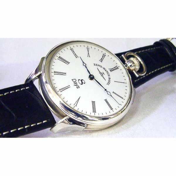 ZENO-WATCH BASEL, Retro Nidor, Silberuhr mit altem 8-Tage-Uhrwerk_8611