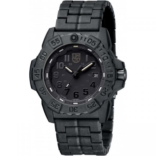 LUMINOX, Sea, Navy Seals EVO, Blackout schwarz, PU-Gliederarmband_8789