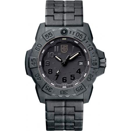 LUMINOX, Sea, Navy Seals EVO, Blackout schwarz, PU-Gliederarmband