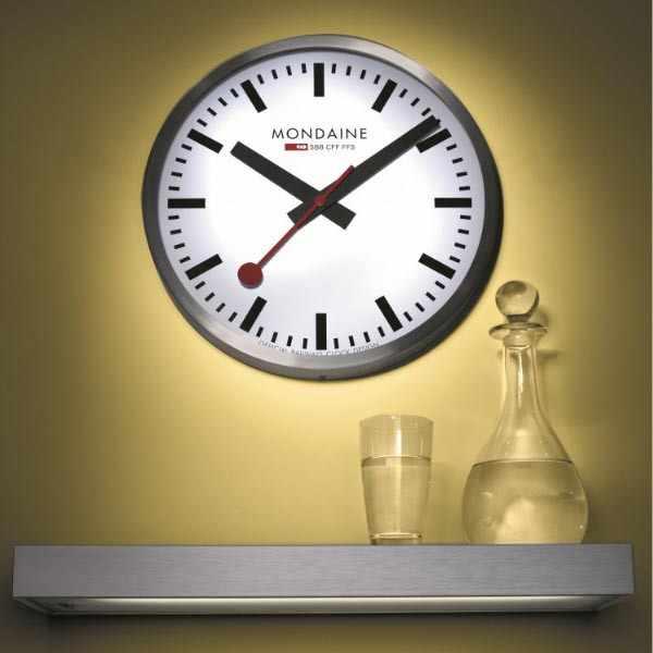 MONDAINE, Wall Clock 25cm, original SBB Bahnhofswanduhr, silber/weiss_8943