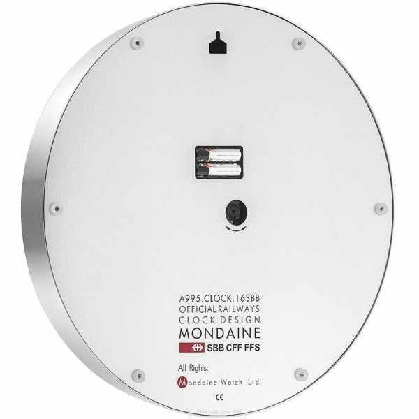 MONDAINE Wall Clock XL, SBB Bahnhofswanduhr, Hybrid Sweep Silent_8945