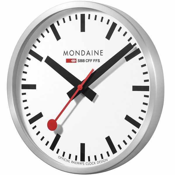 MONDAINE Wall Clock XL, SBB Bahnhofswanduhr, Hybrid Sweep Silent_8948