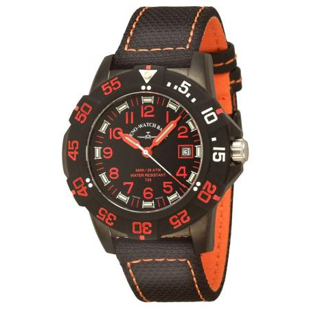 ZENO-WATCH BASEL, H3 Fashion Diver, Lumiuhr, Edelstahl schwarz-orange