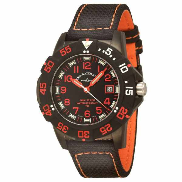 ZENO-WATCH BASEL, H3 Fashion Diver, Lumiuhr, Edelstahl schwarz-orange_898