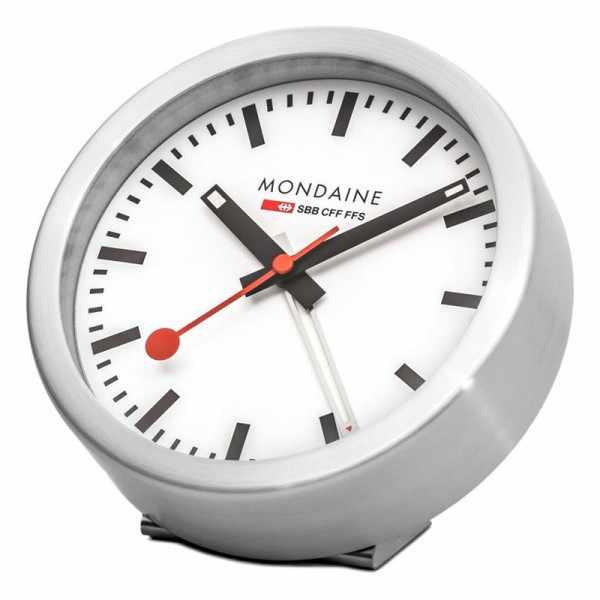 MONDAINE, Mini Clock 12.5cm, kleine SBB Bahnhofs Wecker-Tisch-Wanduhr_9206