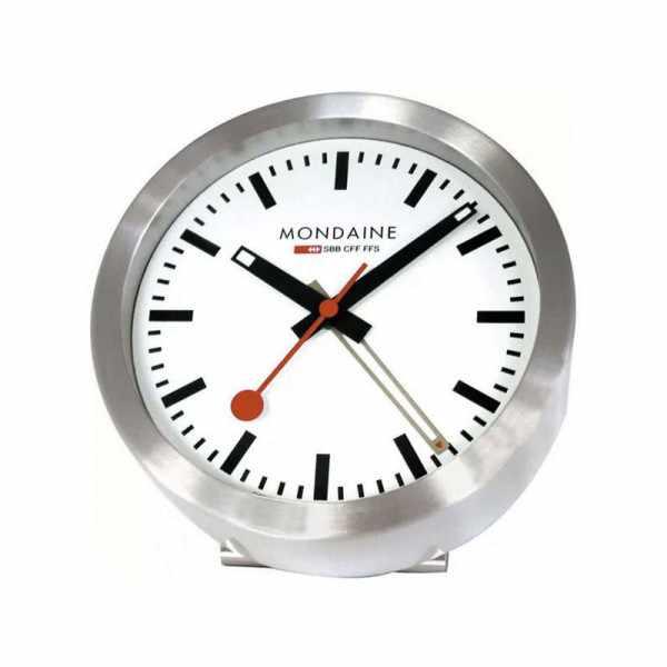 MONDAINE, Mini Clock, kleine SBB Bahnhofs Wecker-Tisch-Wanduhr_9207