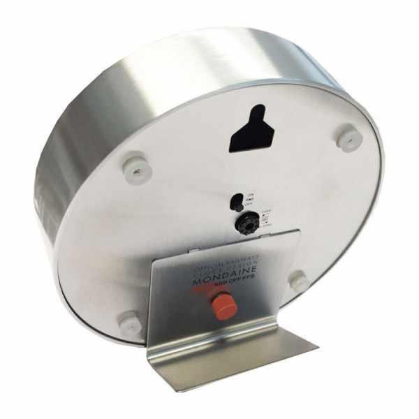 MONDAINE, Mini Clock 12.5cm, kleine SBB Bahnhofs Wecker-Tisch-Wanduhr_9208