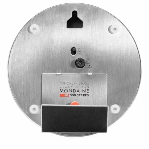 MONDAINE, Mini Clock, kleine SBB Bahnhofs Wecker-Tisch-Wanduhr_9209