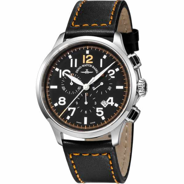 ZENO-WATCH BASEL, Pilot Retro Tre Pilot, Quartz Chrono, Leder_9243