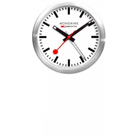 MONDAINE, Mini Clock, kleine SBB Bahnhofs Wecker-Tisch-Wanduhr