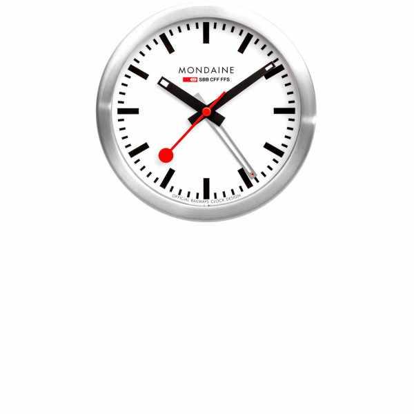 MONDAINE, Mini Clock, kleine SBB Bahnhofs Wecker-Tisch-Wanduhr_9249