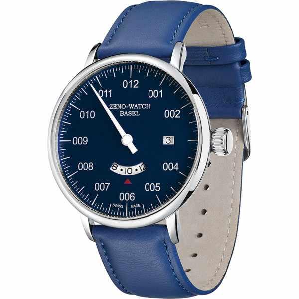 ZENO, Bauhaus Uno Date, 24h Quartzuhr, blau_9301