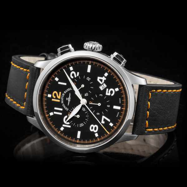 ZENO-WATCH BASEL, Pilot Retro Tre Pilot, Quartz Chrono, Leder_9336