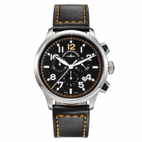 ZENO-WATCH BASEL, Pilot Retro Tre Pilot, Quartz Chrono, Leder_9337