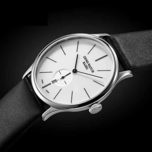 ZENO-WATCH BASEL, Bauhaus Quartuhr weiss_9369