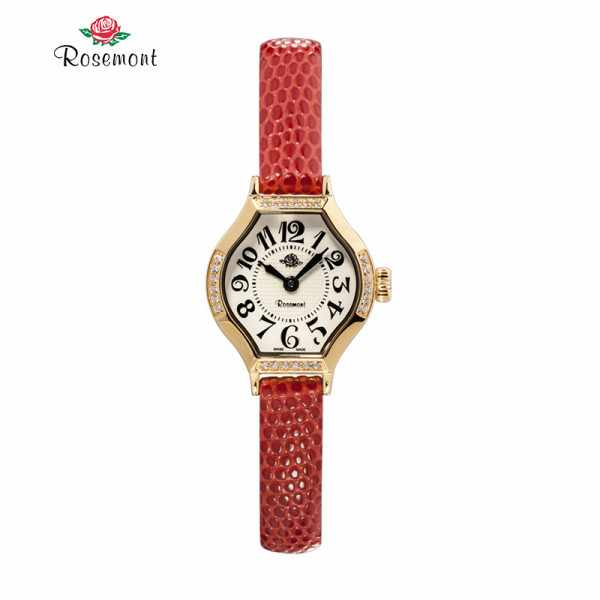 ROSEMONT, Anitique Tea Rose Quartz Damenuhr, vergoldet LB rot_9453