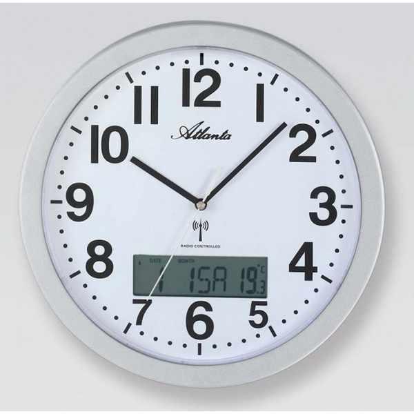 ATLANTA Date Display Funkwanduhr mit Kalender und Thermometer_97