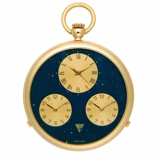 3 Zeitenuhr, Taschenuhr, Quartz, vergoldet_973