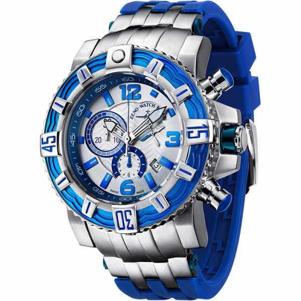 ZENO-WATCH BASEL, Neptun 2 Quartz Chrono, Edelstahl, blau_9759