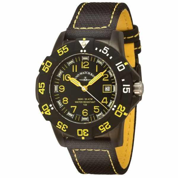 ZENO-WATCH BASEL, H3 Fashion Diver, Lumiuhr, Edelstahl schwarz-gelb_980