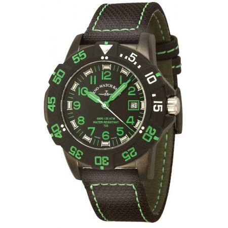 ZENO-WATCH BASEL, H3 Fashion Diver, Lumiuhr, Edelstahl schwarz-grün