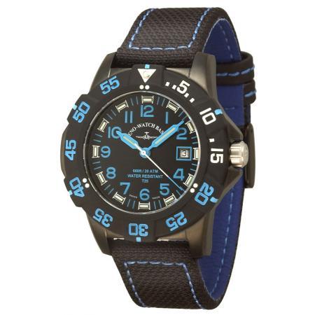 ZENO-WATCH BASEL, H3 Fashion Diver, Lumiuhr, Edelstahl schwarz-blau