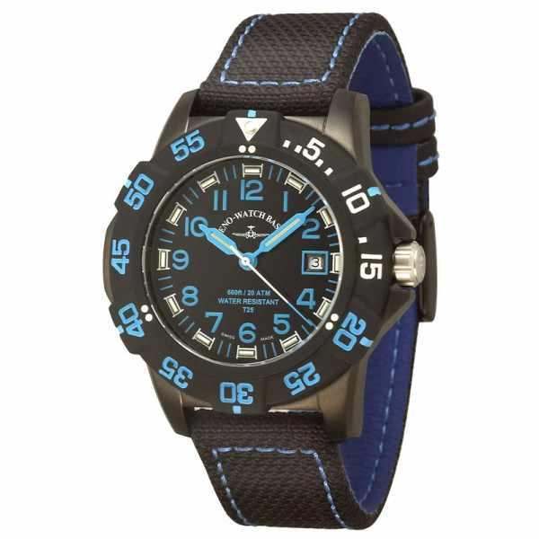 ZENO-WATCH BASEL, H3 Fashion Diver, Lumiuhr, Edelstahl schwarz-blau_982