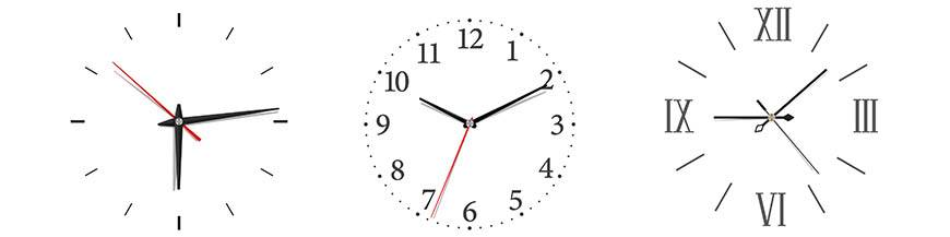 Horloges murales analogiques avec des aiguilles